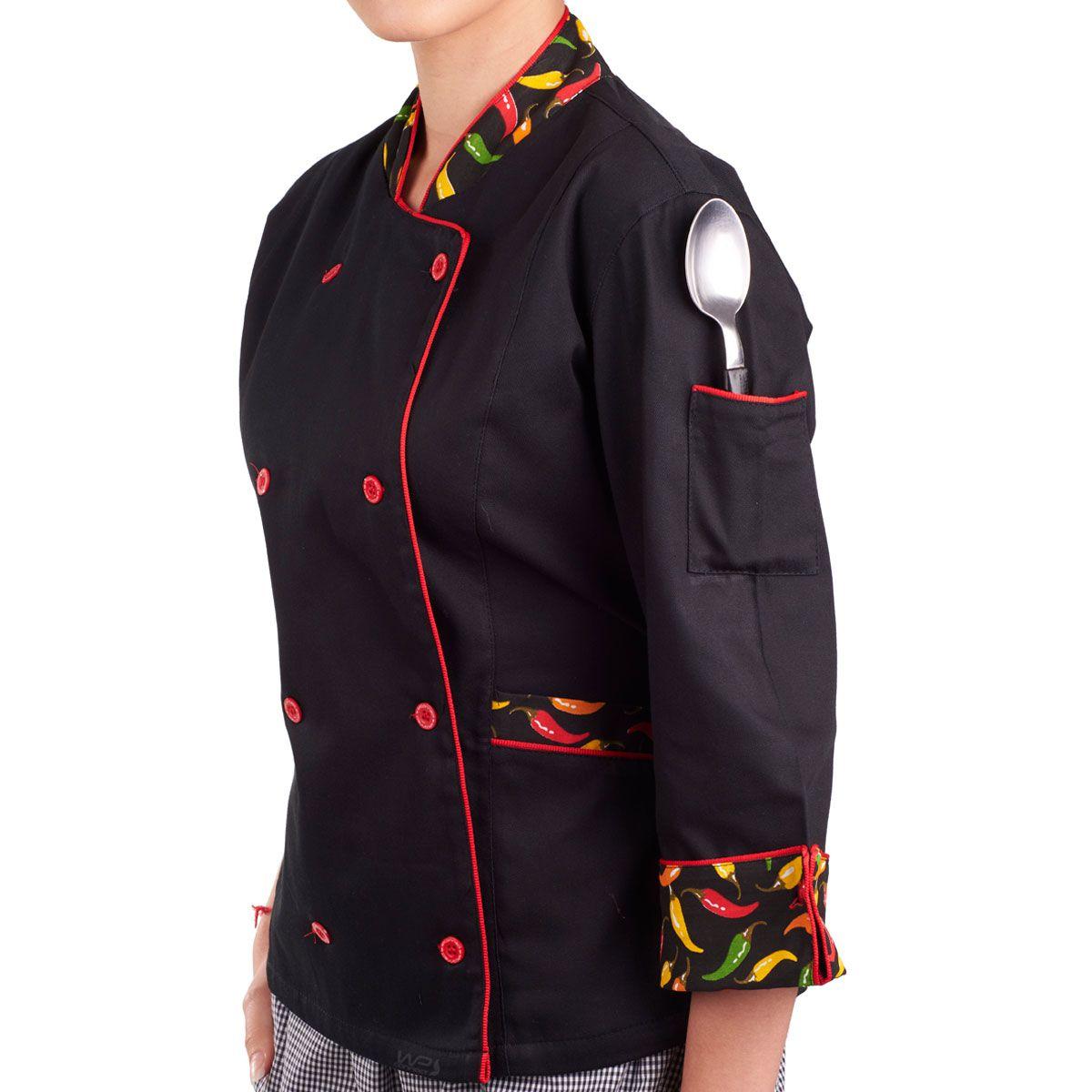 Dólmã Chef de Cozinha Feminina Pimenta