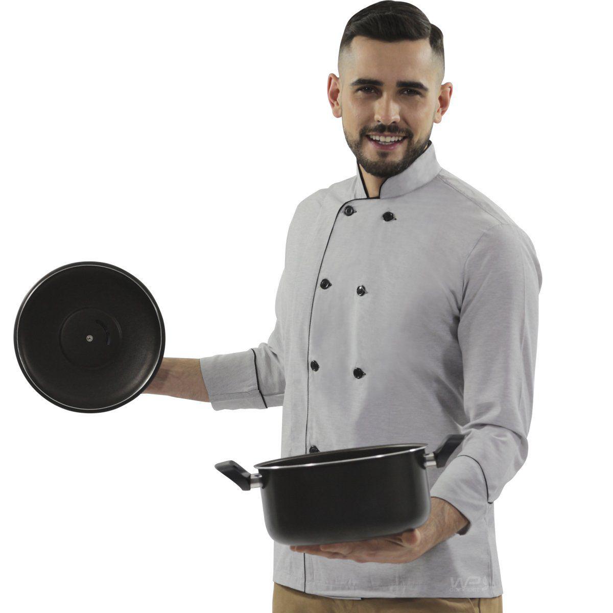 Dolmã Chef de Cozinha Grafite 100% Algodão