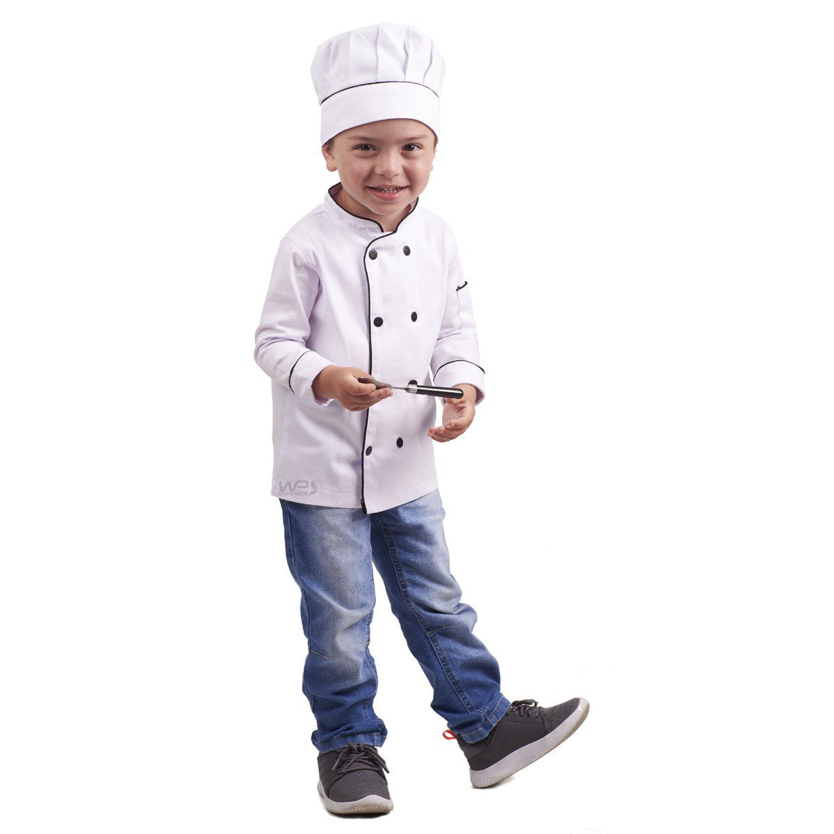 Dólmã Chef de Cozinha Infantil Chapéu Mestre Cuca Branco