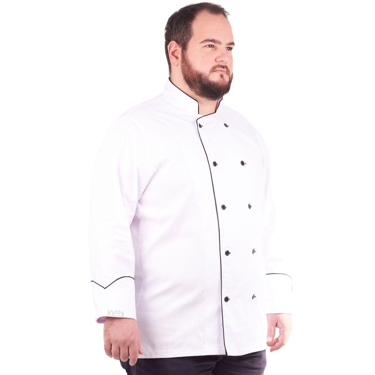 Dólmã Chef de Cozinha Plus Size Tradicional Branco