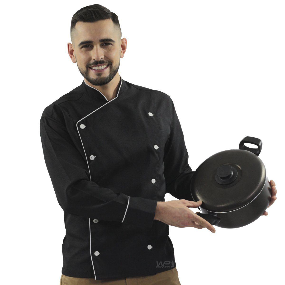 Dólmã Chef de Cozinha Preto/ Branco 100% Poliéster