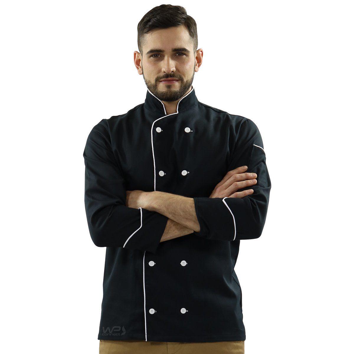 Dólmã Chef de Cozinha Preto Com Branco Sarja 100% algodão