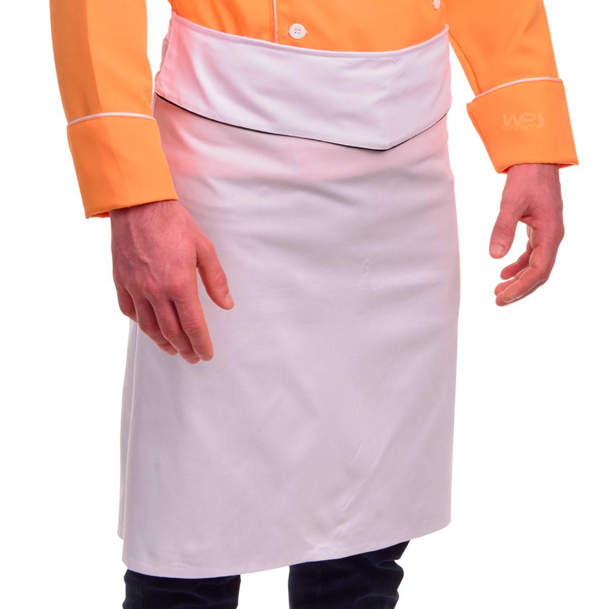 Dólmã Chef de Cozinha Salmão Chapéu e Avental Unissex