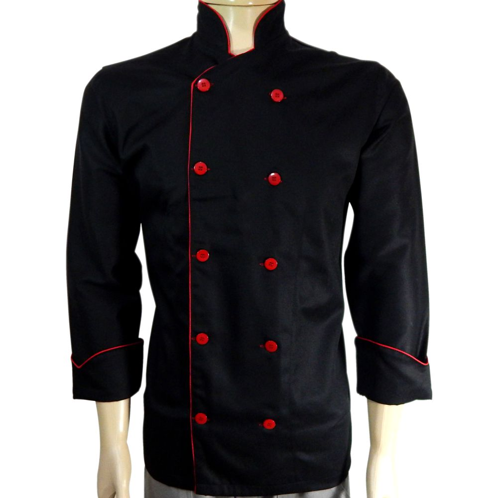 Dolma Chef De Cozinha Preto com Vermelho 100% Algodão