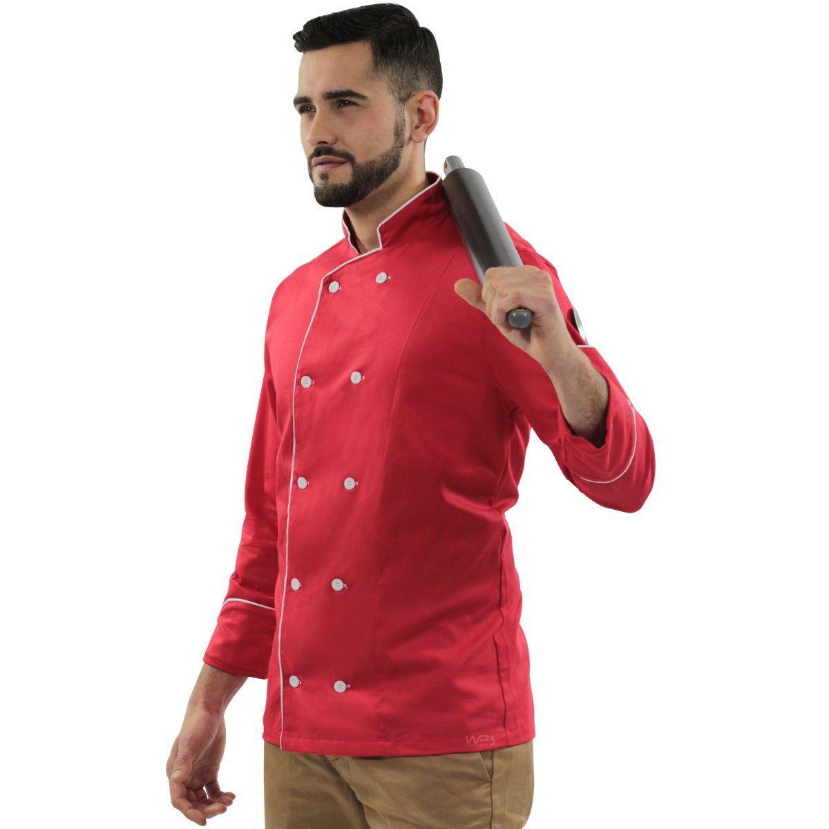 Dólmã Chef de Cozinha Vermelho Red Gold