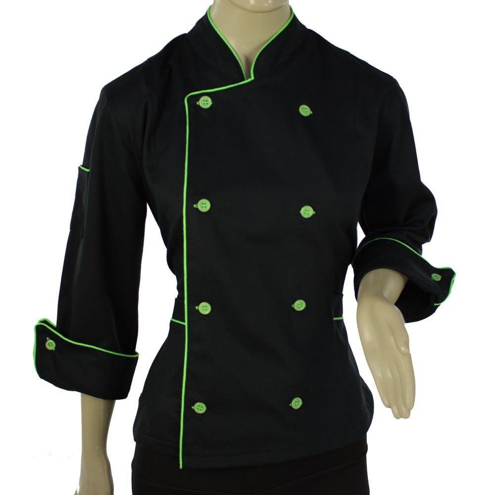 Dolmã Chef  Feminina  De Cozinha Angel Preto Com Verde - Algodão