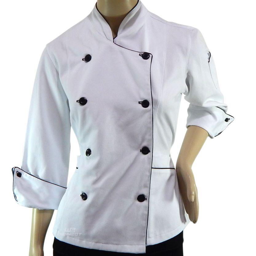 ... Dolmã Chef Feminino Branco 100% Algodão Brim Premium - WP Connect ... 8b7bf0557af