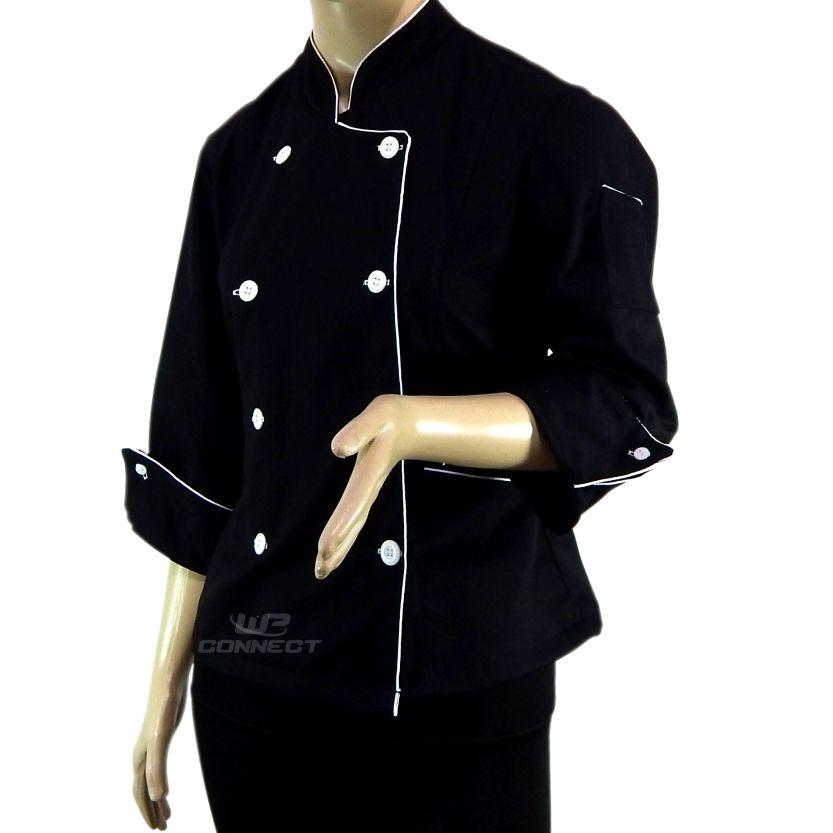 Dólmã Chef Feminino Preto/ Branco 100% Algodão