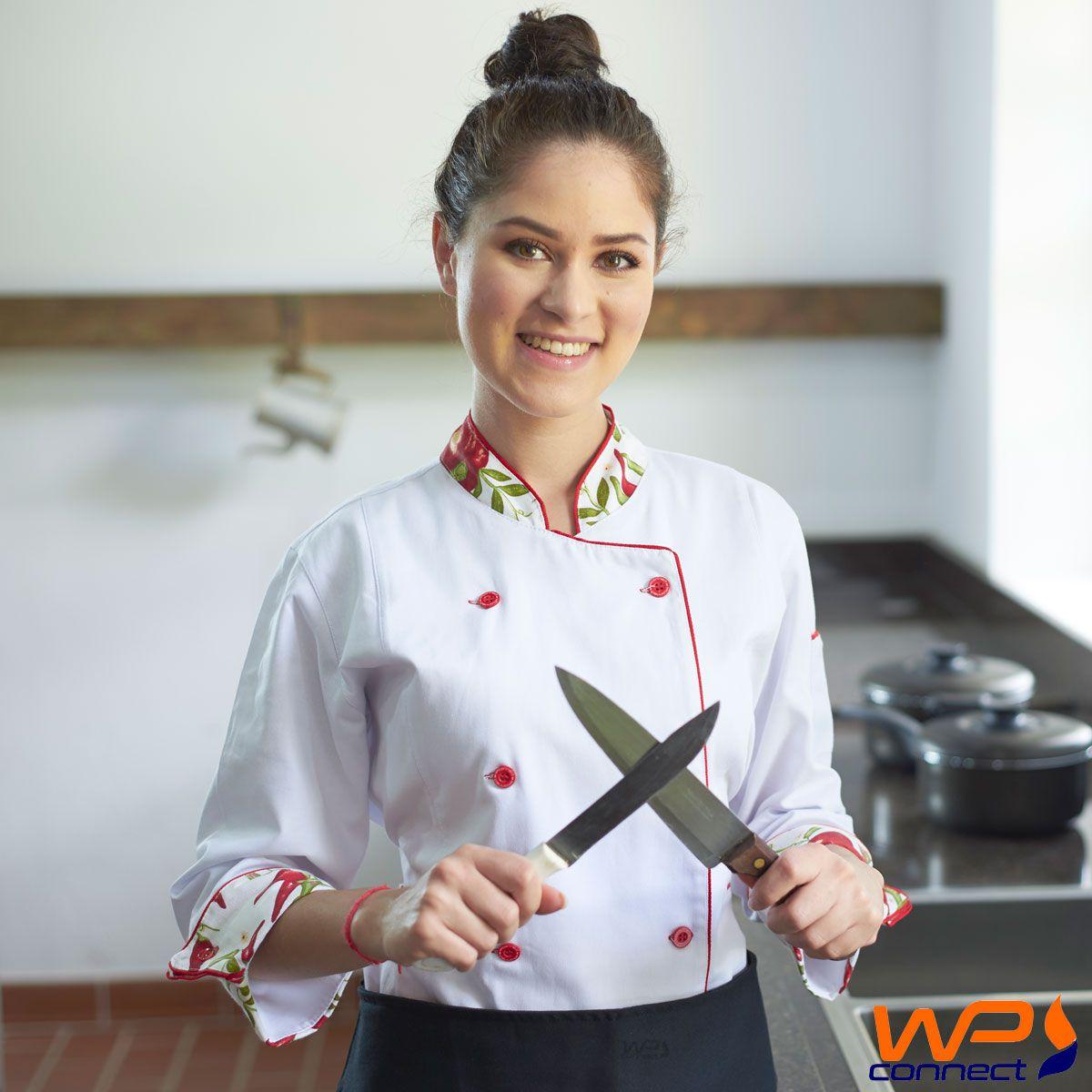 Dolmã Feminino Acinturado Modelo Pimenta Chef de Cozinha