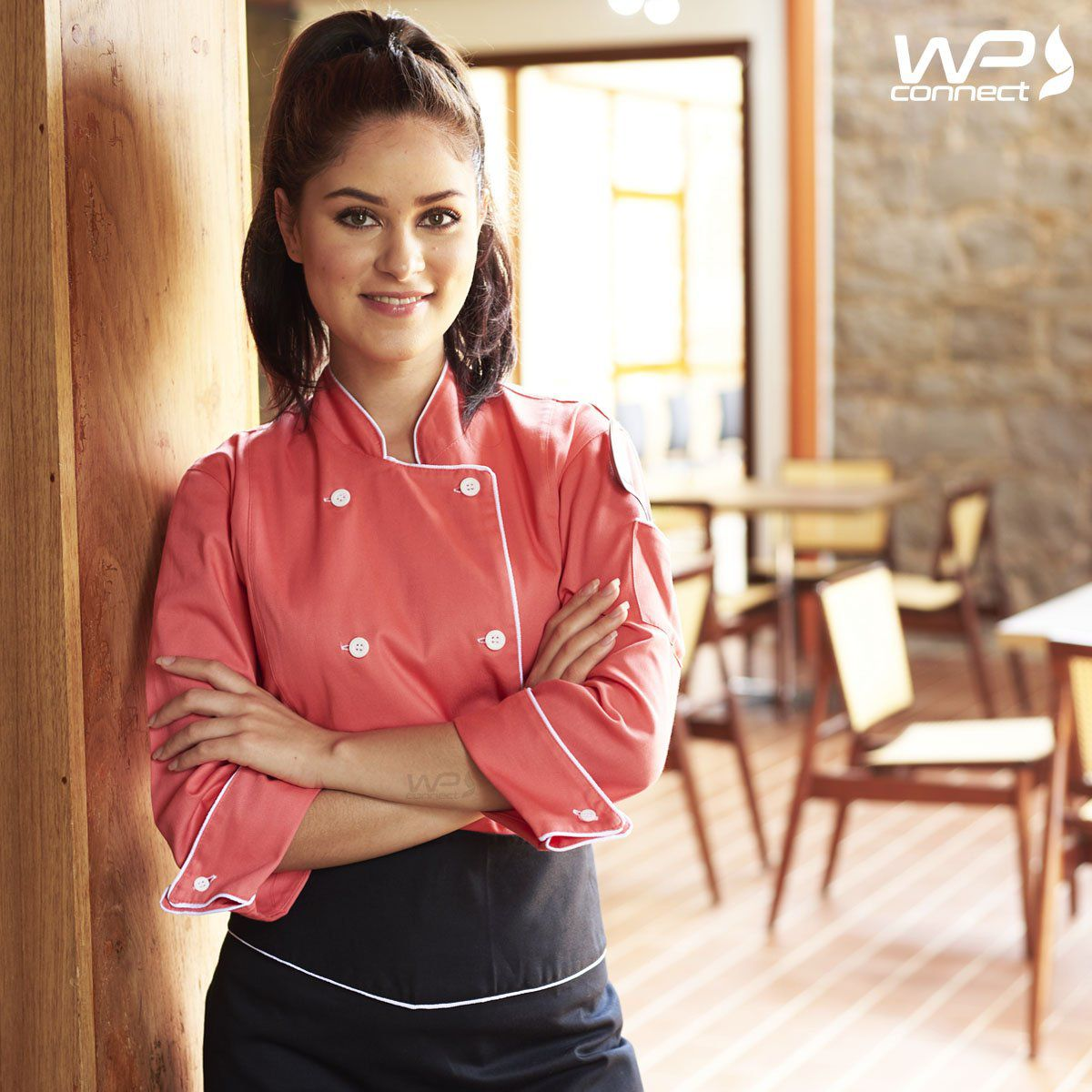 Dólmã Feminino Chef de Cozinha Goiaba Acinturado