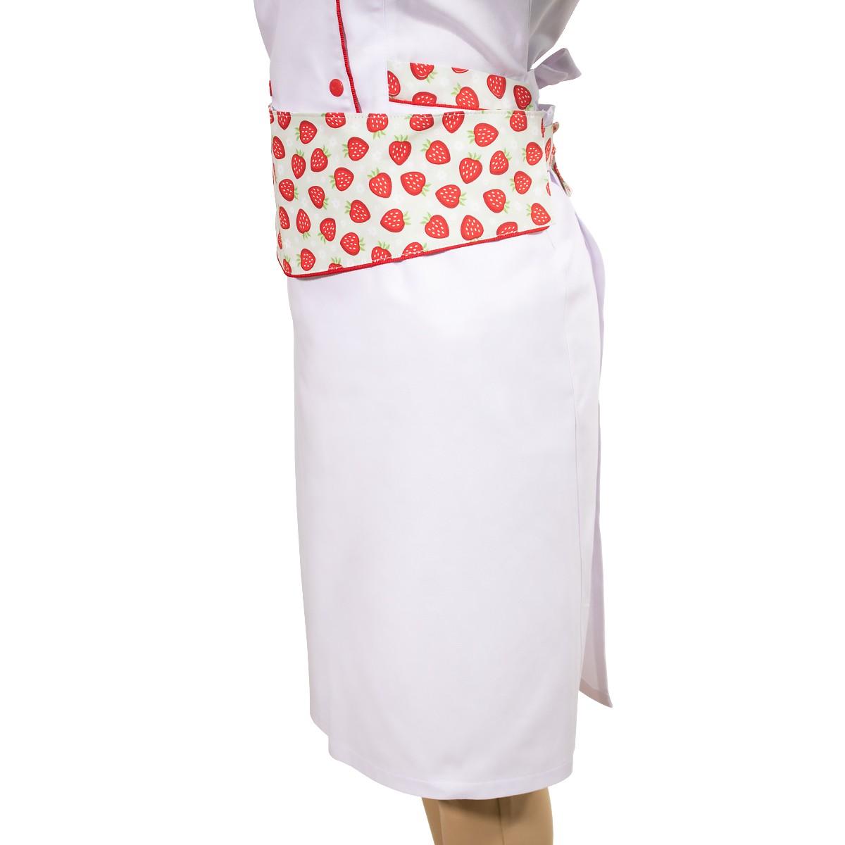Dólmã Feminino Chef de Cozinha Avental e Bandana Morangos