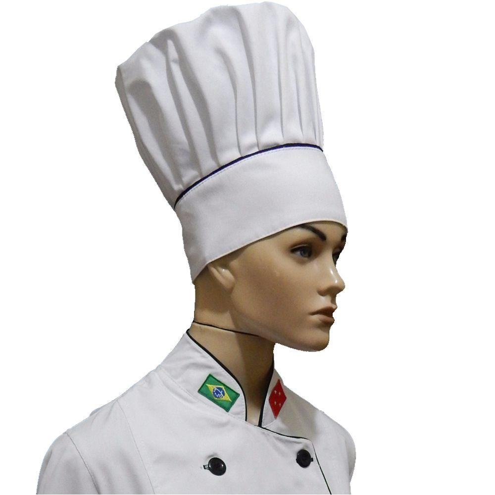 Dolma Unissex Branco Oxford + Chapéu Chef De Cozinha