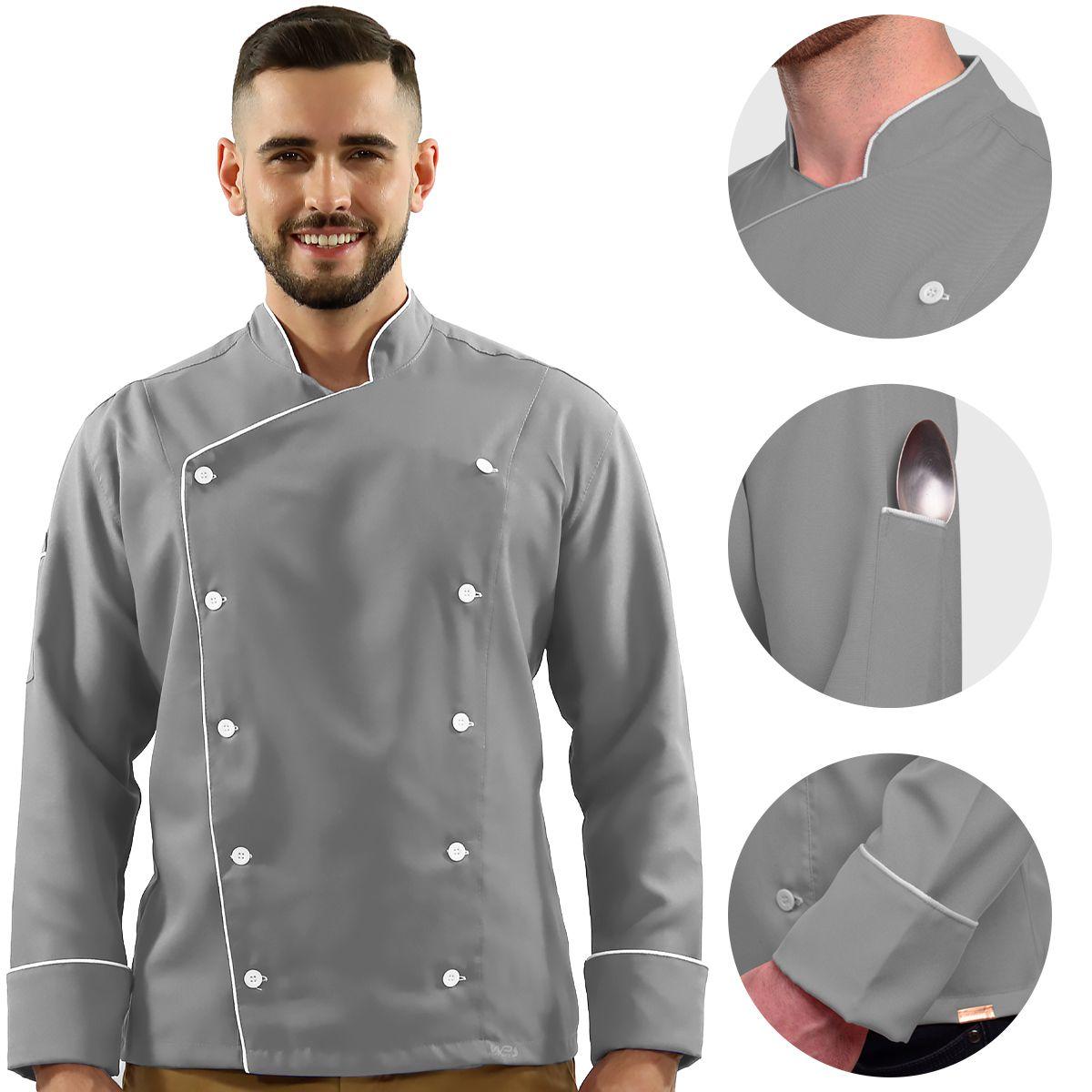 Dólmã Unissex Chef de Cozinha Oxford Cinza