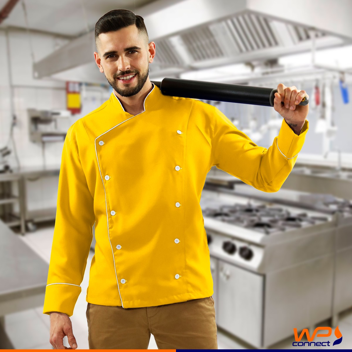 Dólmã Chef de Cozinha Amarelo Unissex Oxford 100% Poliéster