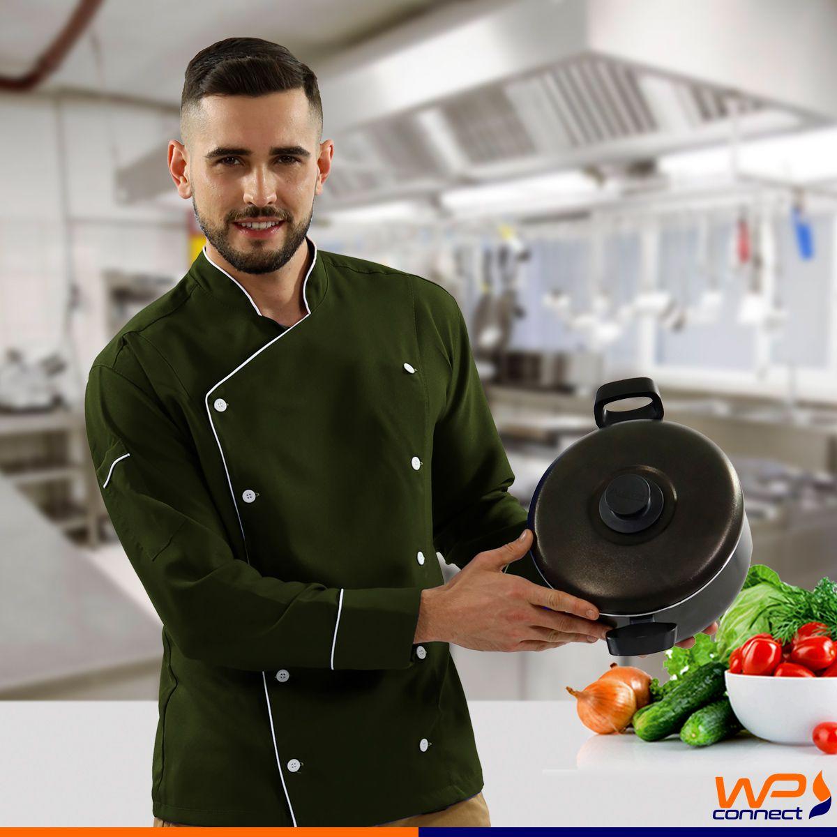 Dólmã Unissex Chef de Cozinha Verde Floresta 100% Poliéster
