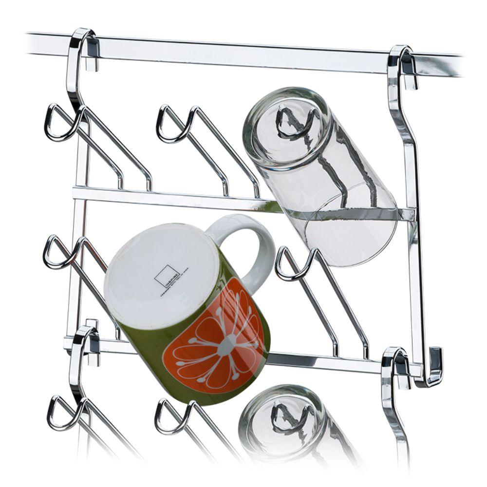 Escorredor Para Barra de Cozinha Componível 6 Copos - Aço Cromado