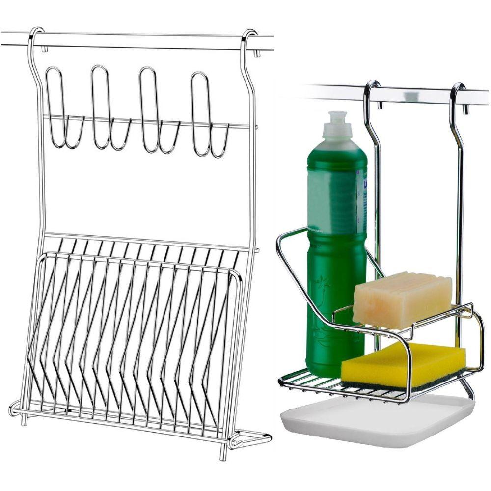 Escorredor Dobrável Com Suporte Detergente Para Barra