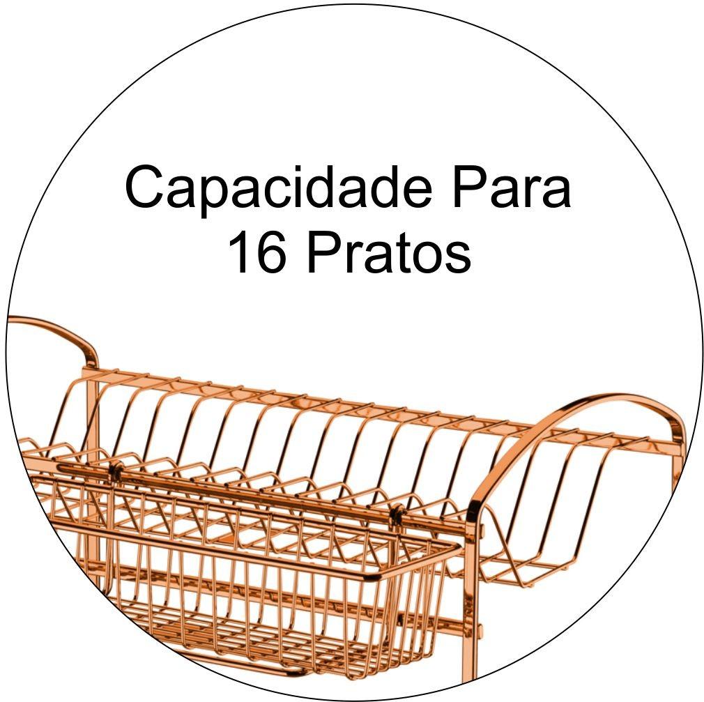 Escorredor de Louça Duplo Capacidade Para 16 Pratos - Cobre