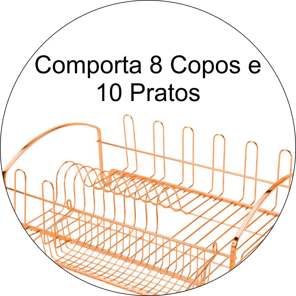 Escorredor de Louças 10 Pratos e 8 Copos - Cobre