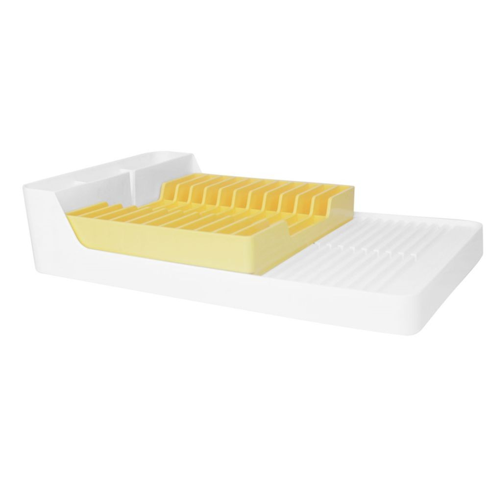 Escorredor de Louças Para 11 Pratos - Branco/Amarelo