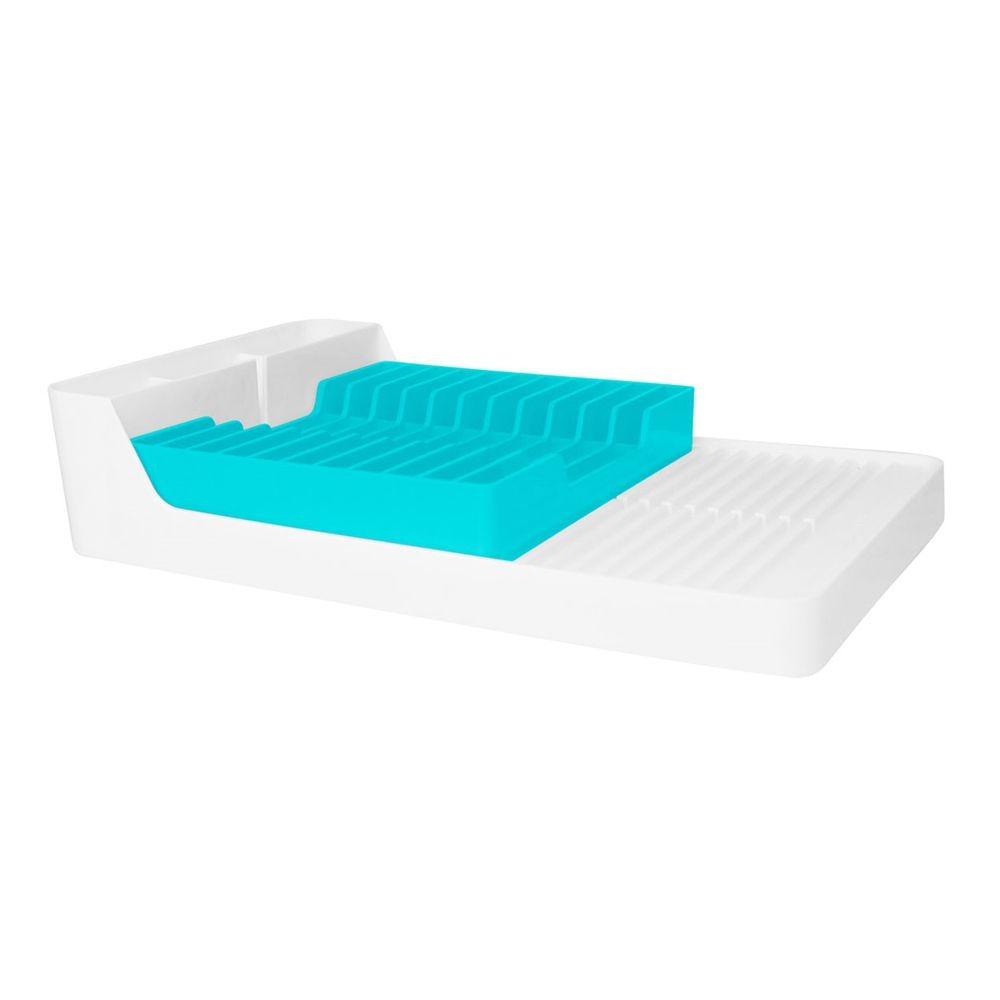 Escorredor de Louças Para 11 Pratos - Branco/Azul Turquesa
