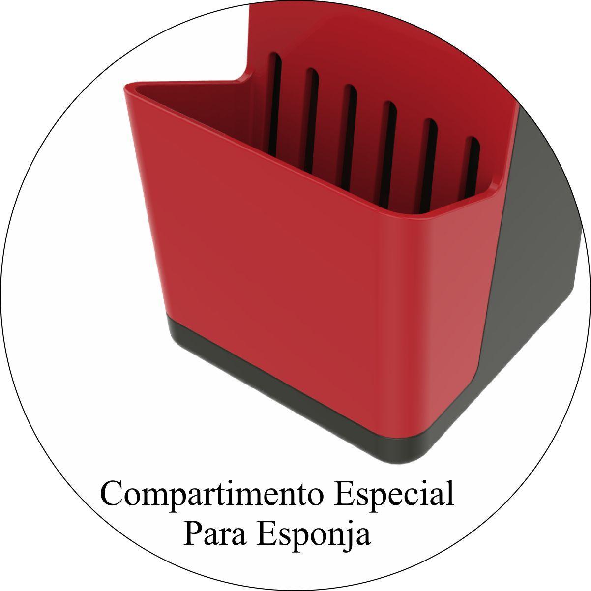 Escorredor de Louças 11 Pratos Dispenser Detergente - Chumbo/Vermelho