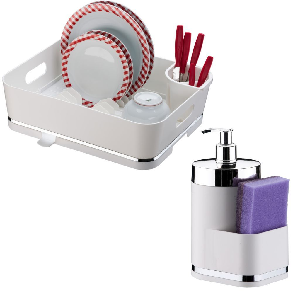 Escorredor de Louças 13 Pratos C/ Suporte Detergente Esponja