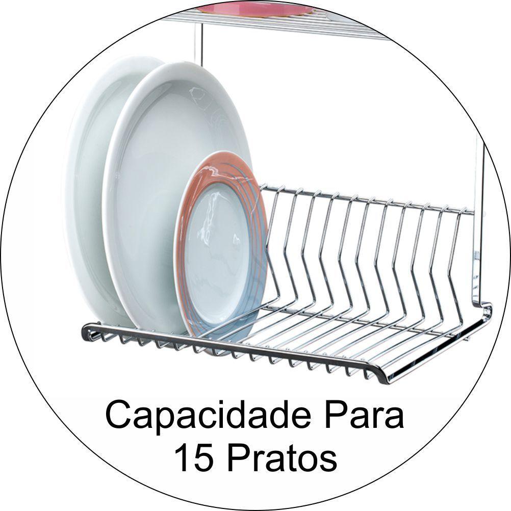 Escorredor de Louças 15 Pratos Barra Piatina de Cozinha 60cm