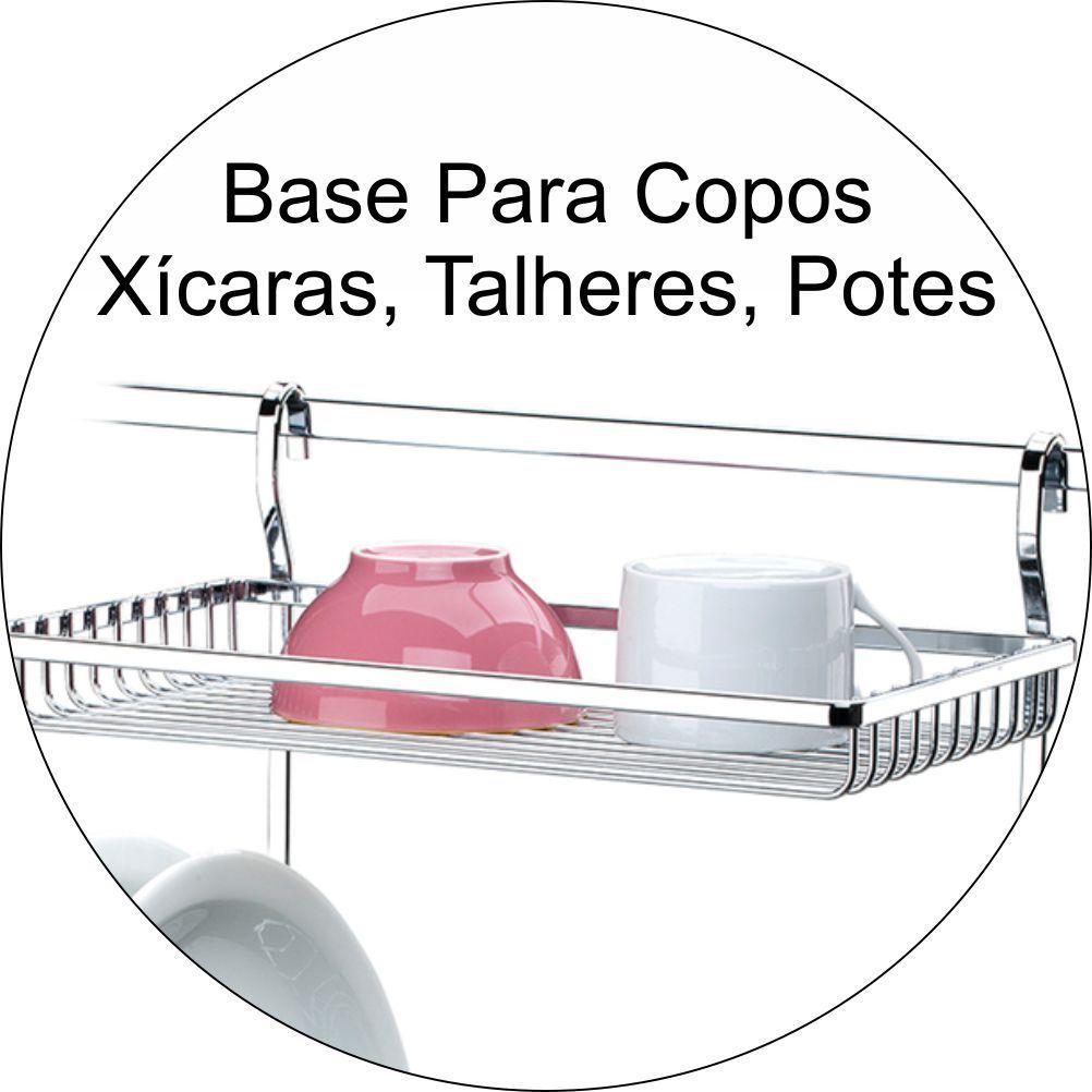 Escorredor de Louças 15 Pratos Para Barra de Cozinha Cromado