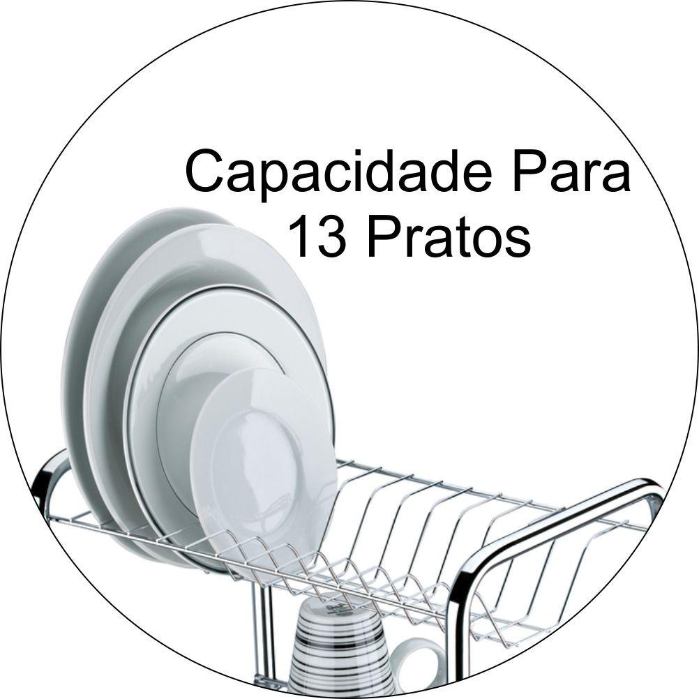 Escorredor De Louças 2 Andares Com Capacidade Para 13 Pratos - Cromado
