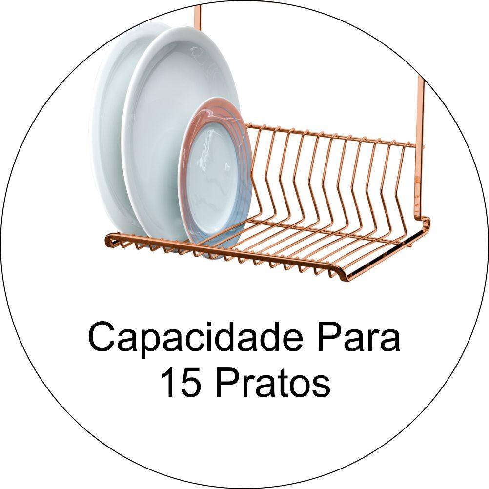 Escorredor de Louças 2 Andares 15 Pratos Para Barra - Cobre