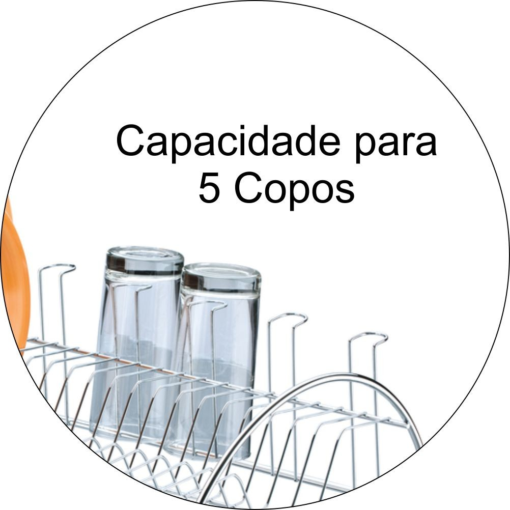Escorredor De Louças Capacidade Para 10 Pratos E 5 Copos - Cromado