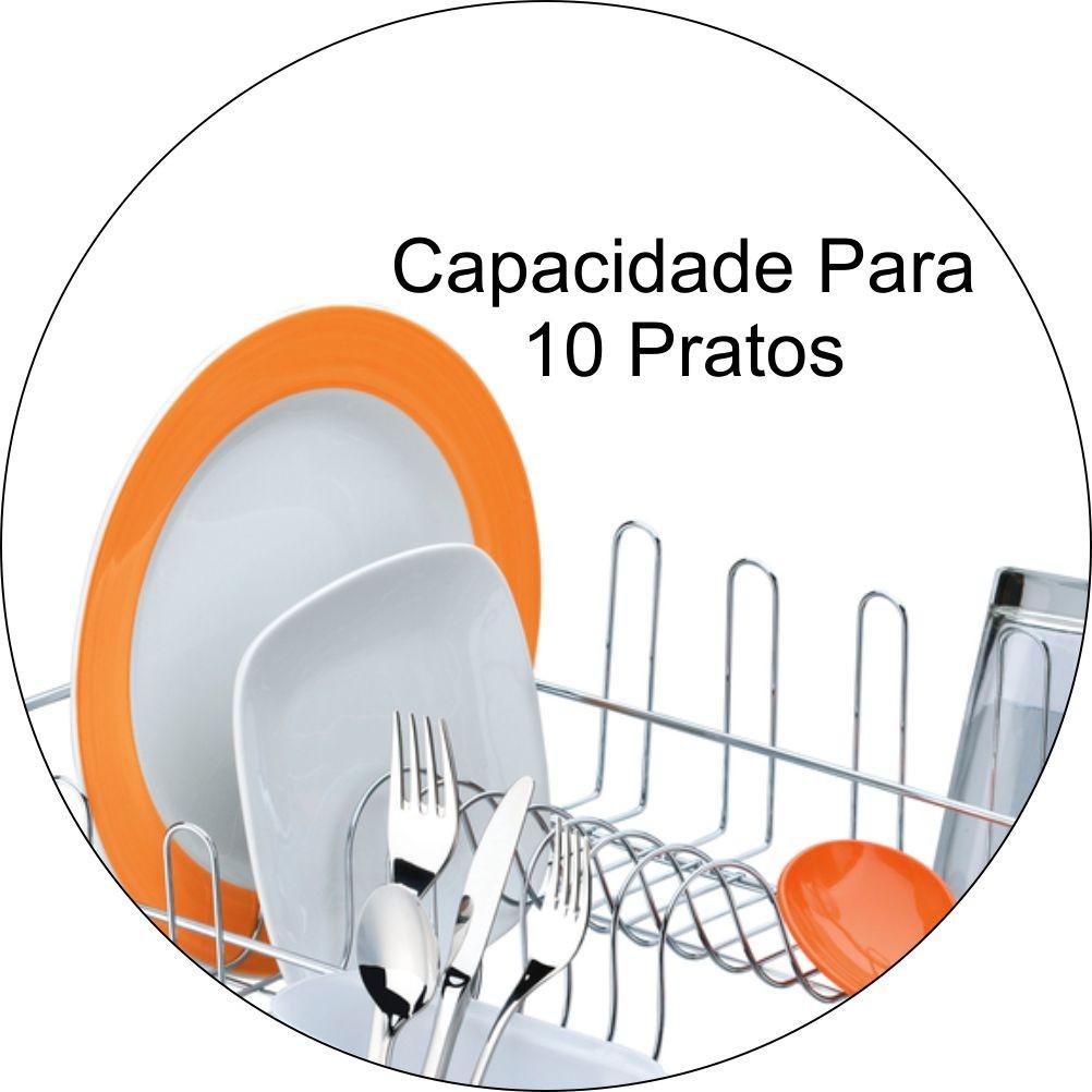 Escorredor De Louças Capacidade Para 10 Pratos E 8 Copos - Cromado