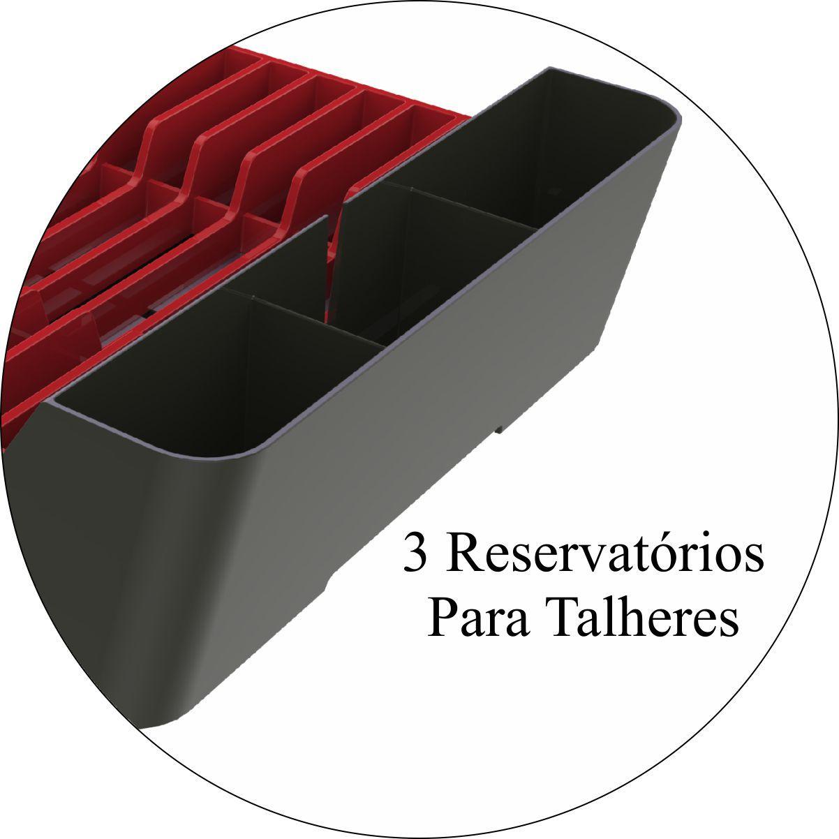 Escorredor de Louças Capacidade Para 11 Pratos Chumbo/Vermelho