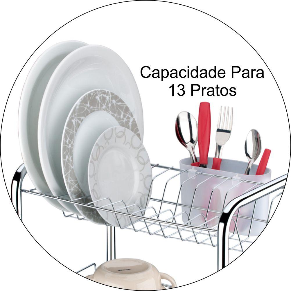 Escorredor De Louças Capacidade Para 13 Pratos Com Suporte Talheres- Cromado