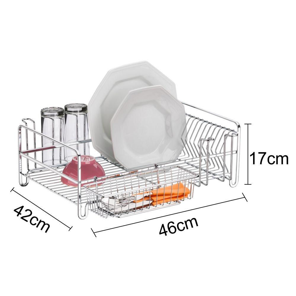 Escorredor De Louças Capacidade Para 14 Pratos E 8 copos - Aço Cromado