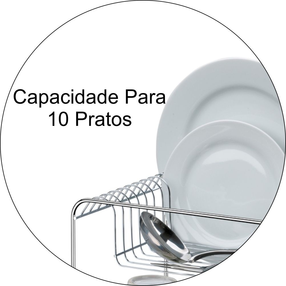 Escorredor De Louças Com Capacidade Para 10 Pratos e 6 Copos - Cromado