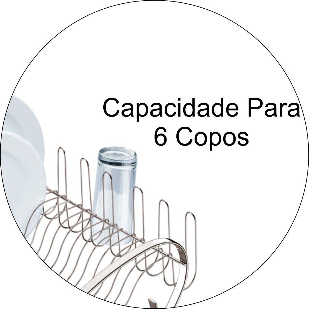 Escorredor De Louças Com Capacidade Para 16 Pratos E 6 Copos - Cromado