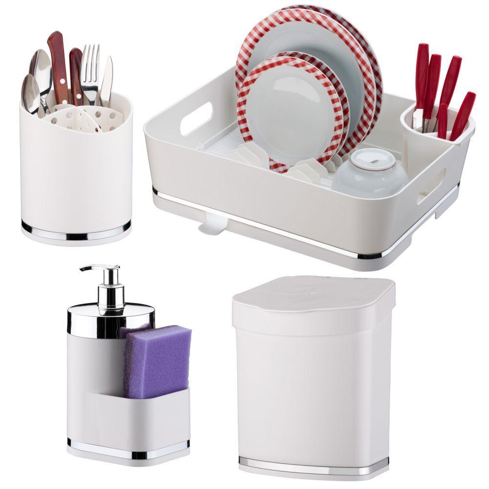 Escorredor de Louças e Talheres + Dispenser Detergente + Lixeirinha