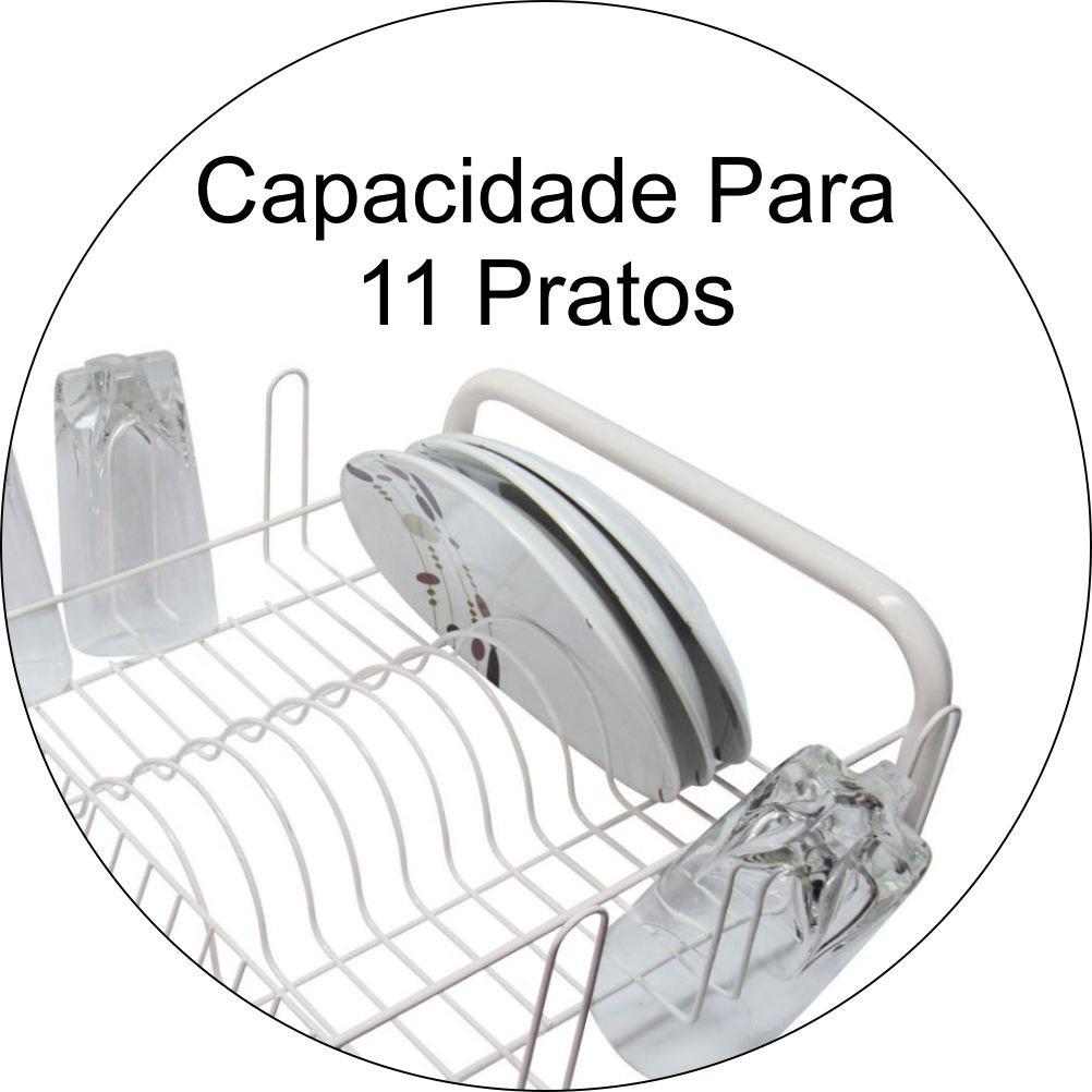 Escorredor de Louças Para 11 Pratos e 6 Copos - Branco