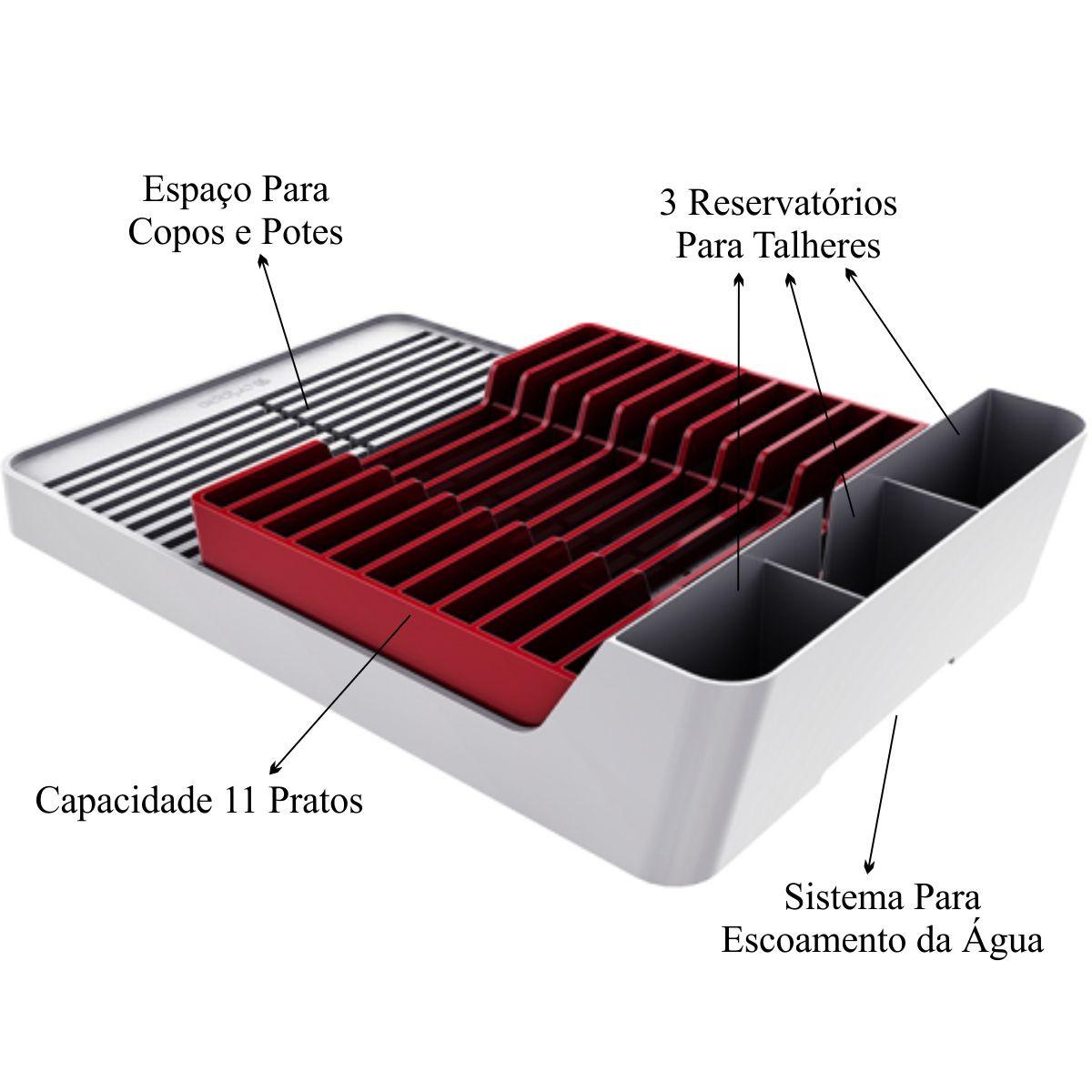 Escorredor de Louças Para 11 Pratos - Branco/Vermelho