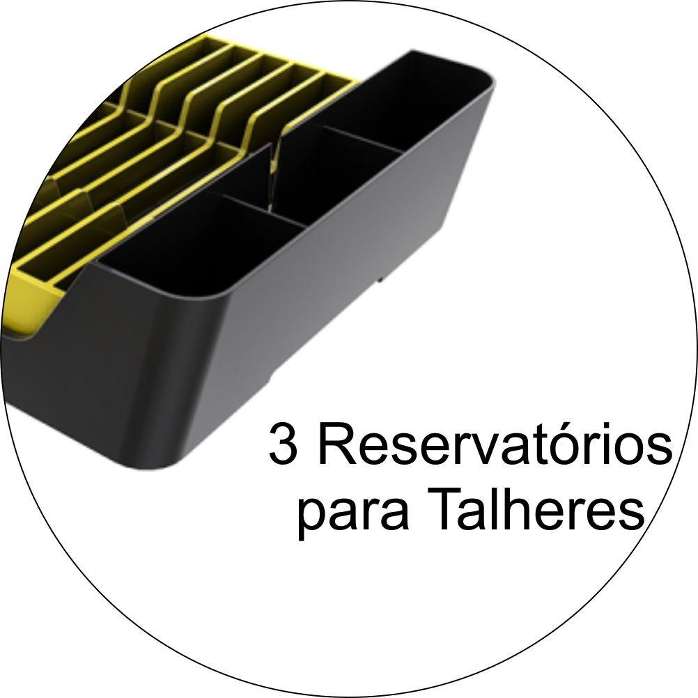 Escorredor de Louças Para 11 Pratos Em Plástico - Chumbo/Amarelo
