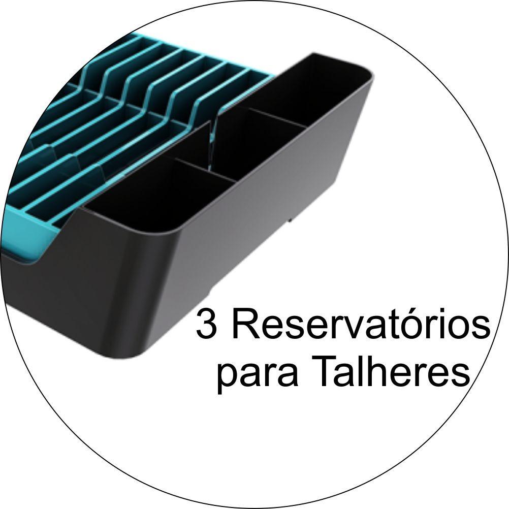 Escorredor Para 11 Pratos Copos e Talheres - Chumbo/Azul Turquesa