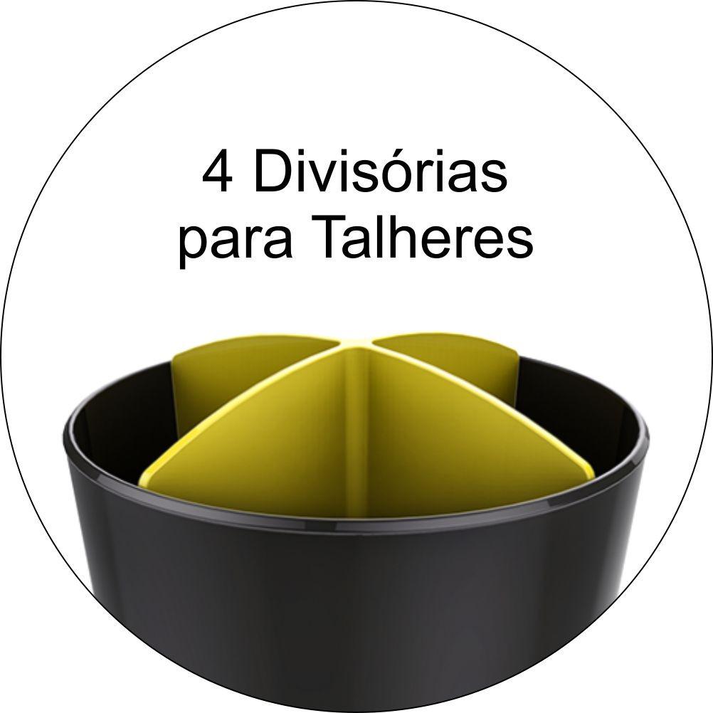 Escorredor Porta Talheres Para Pia Bancada- Cinza Chumbo/Amarelo