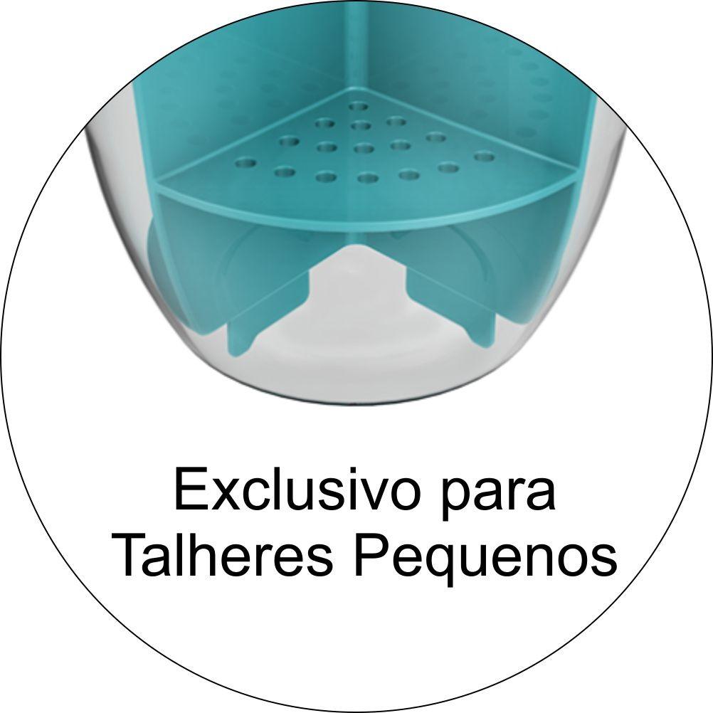 Escorredor de Talheres - Cristal/Azul Turquesa