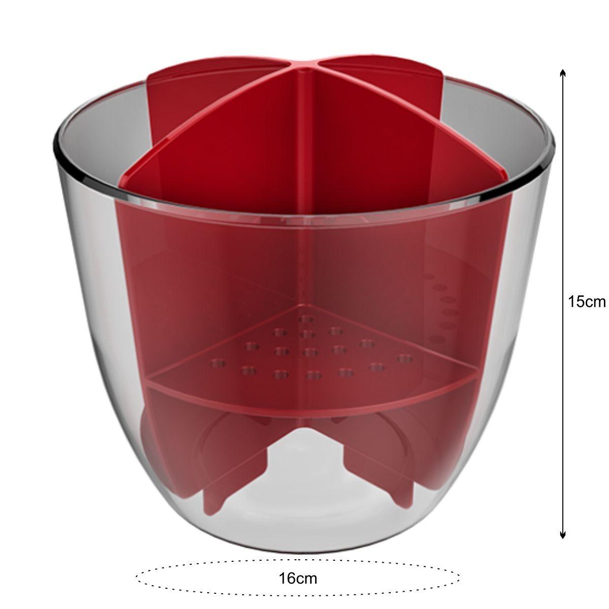 Escorredor de Talheres - Cristal/Vermelho