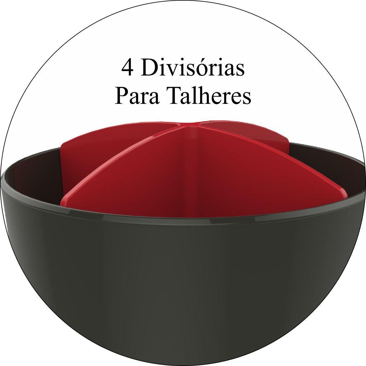 Escorredor de Talheres Organizador de Pia - Cinza Chumbo/Vermelho