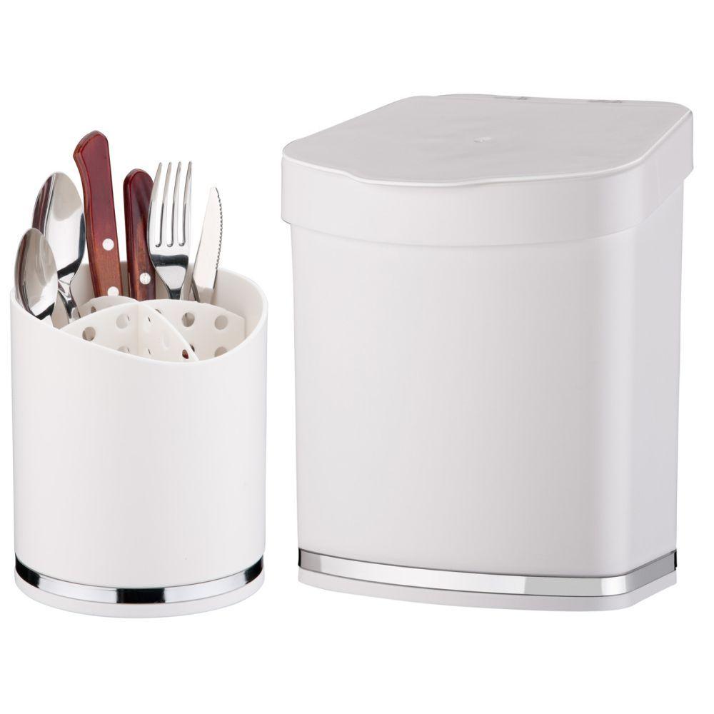 Escorredor Porta Talheres Lixeira 2,5 Litros Cozinha Eleganza