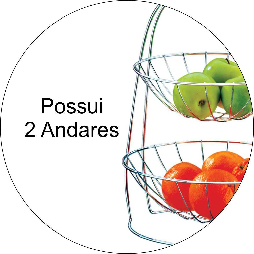Fruteira De Mesa Redonda 2 Andares - Cromado