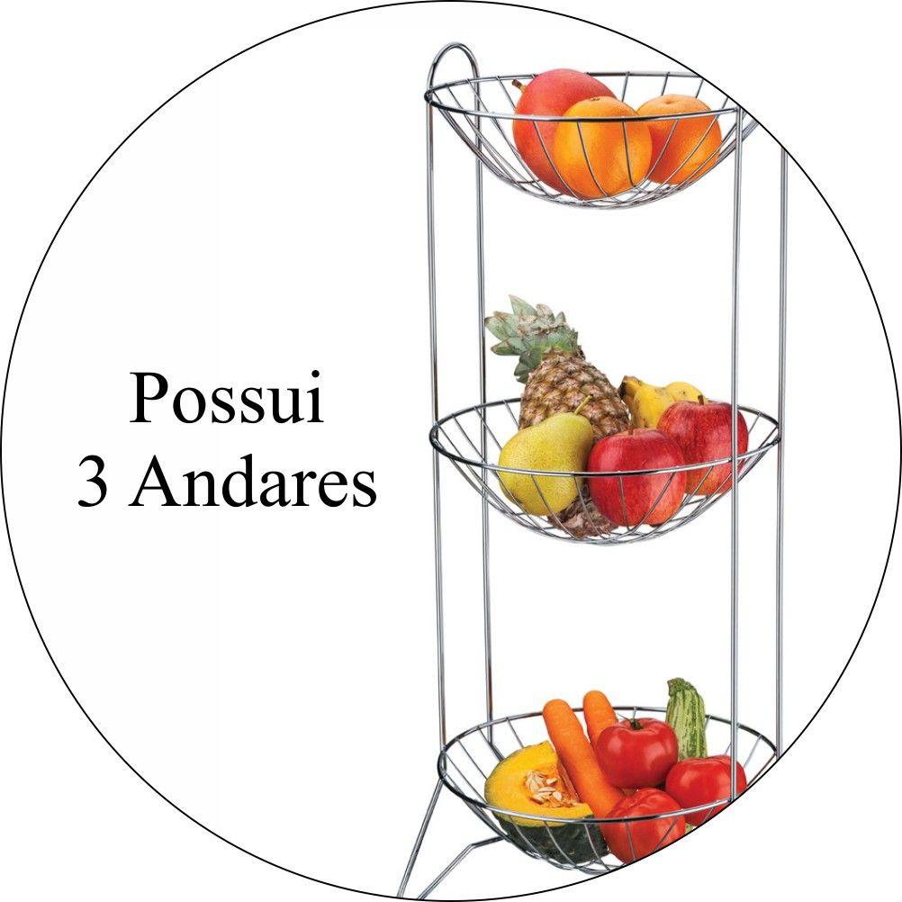 Fruteira de Mesa Redonda 3 Andares - Aço Cromado